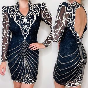 Dresses & Skirts - Vintage Sequin Black Beaded Sheath Dress